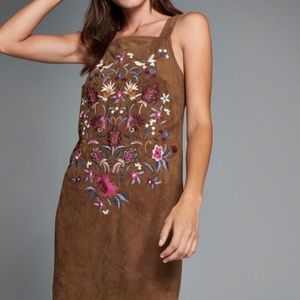 A&F  Faux Suede Embroidered Dress